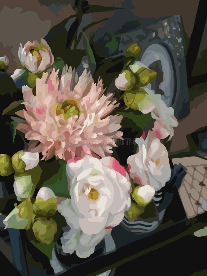 Da aquarela 3D das flores do ramalhete da composição da peônia da dália da pedra de afiar da decoração vetor romântico realístico ilustração royalty free