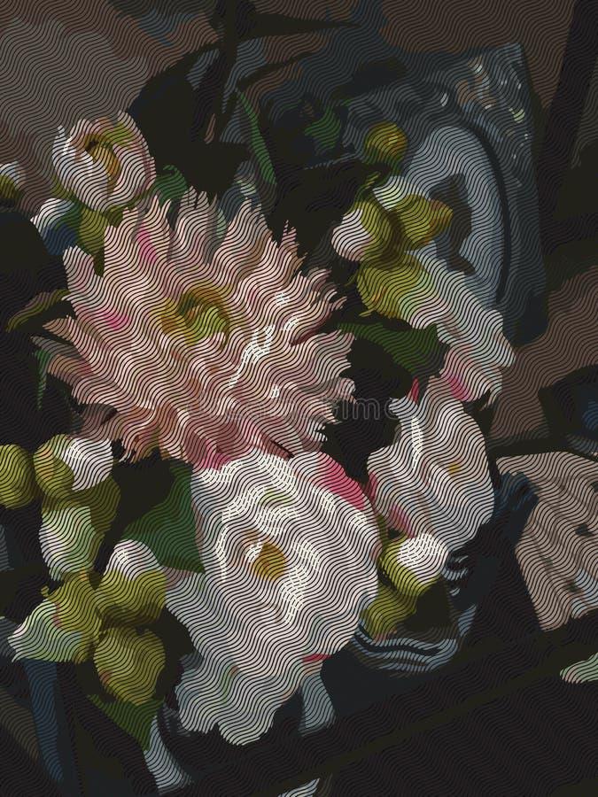 Da aquarela das flores do ramalhete da composição da peônia da dália da pedra de afiar da decoração vetor romântico da gravura da ilustração stock