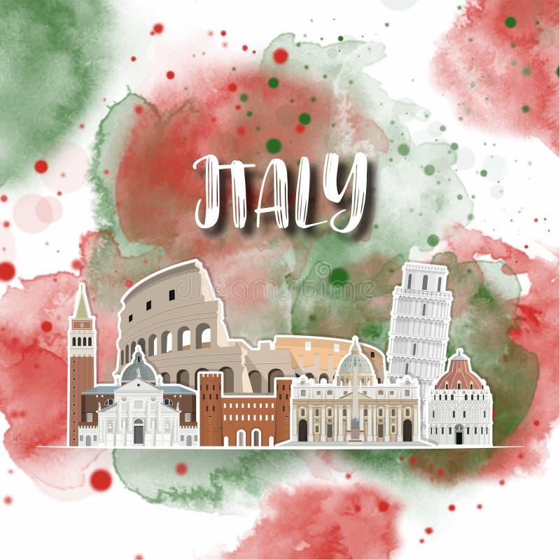 Da aquarela global do curso e da viagem do marco de Itália fundo Molde do projeto do vetor usado para sua propaganda, livro, band ilustração stock