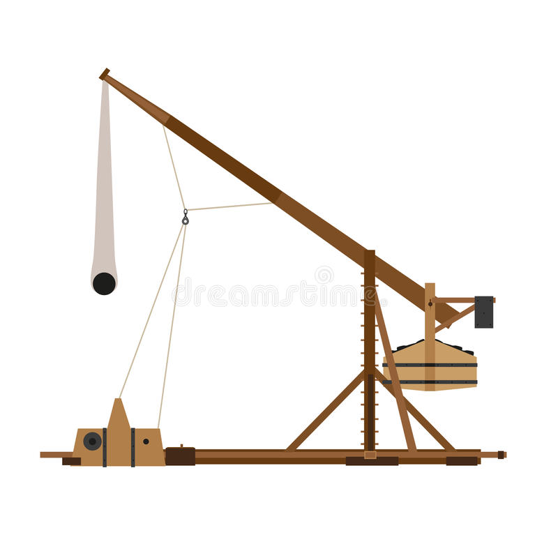 Da arma medieval da ilustração do cerco da guerra do vetor da catapulta de Trebuchet tiro de estilingue antigo de madeira históri ilustração royalty free