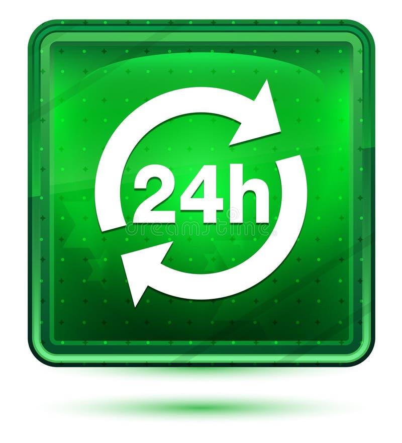 24 da atualização horas claro de néon do ícone - botão quadrado verde ilustração stock