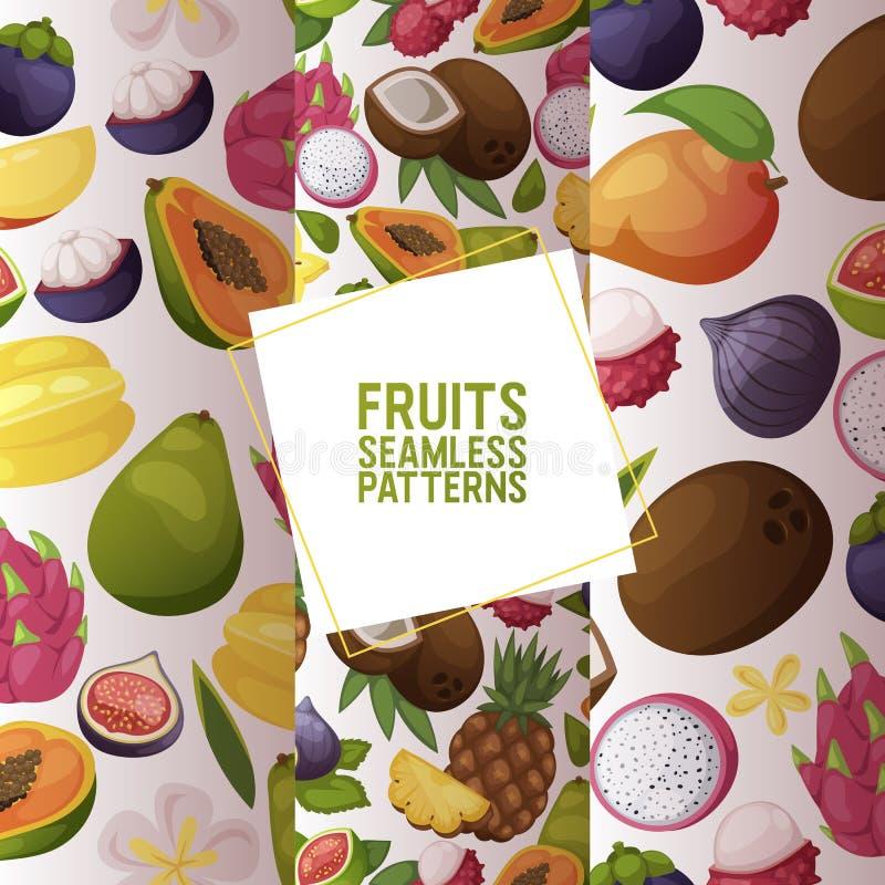 Da banana de maçã frutado do teste padrão sem emenda do vetor dos frutos fatias frescas e do fundo exótico da papaia de dragonfru ilustração do vetor