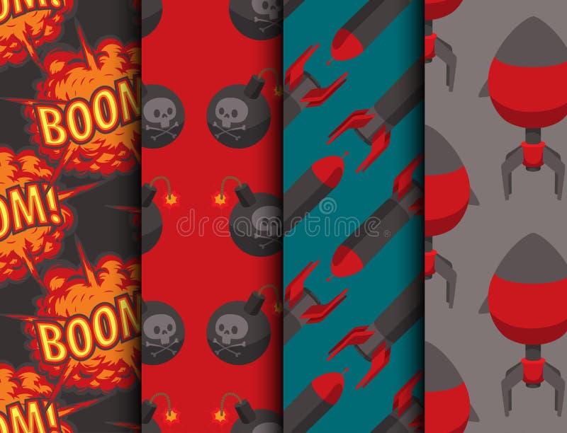 Da bola sem emenda do poder do ataque da granada da ilustração do fundo do teste padrão do vetor do fusível da dinamite da bomba  ilustração do vetor