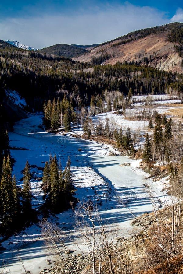 Da borda da estrada, parque provincial do rio dos carneiros, Alberta, Canadá fotografia de stock royalty free