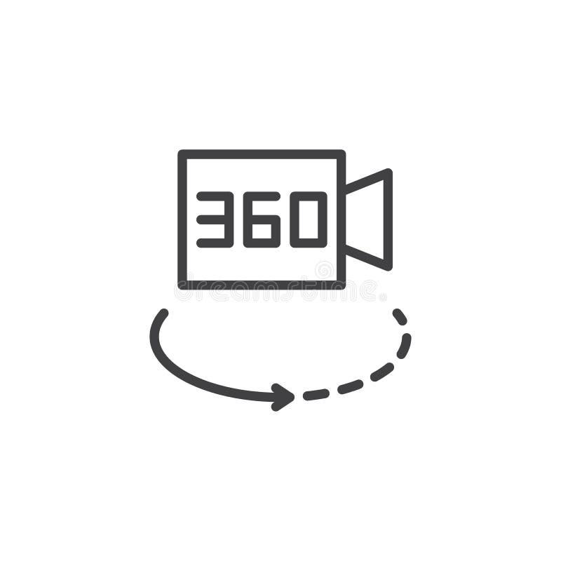 360 da câmara de vídeo graus de ícone do esboço ilustração royalty free