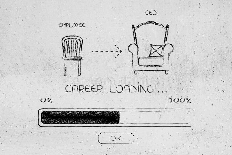Da cadeira do empregado ao trono do CEO com carga da barra do progresso ilustração do vetor