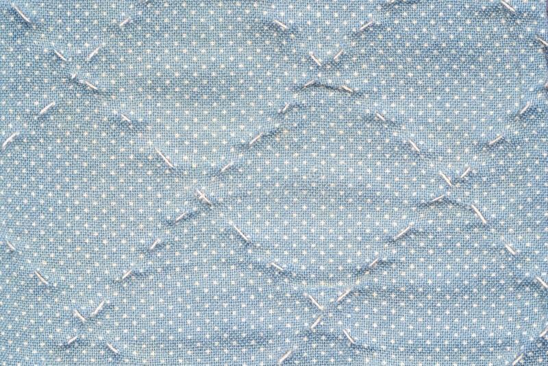 Da carteira azul de superfície da tela do close up fundo textured fotos de stock