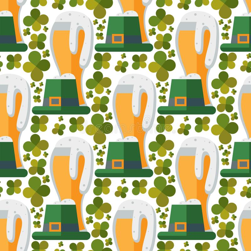 Da cervejaria sem emenda do rafrescamento da celebração de patrick do trevo do teste padrão do vetor do vidro de cerveja o fundo  ilustração royalty free