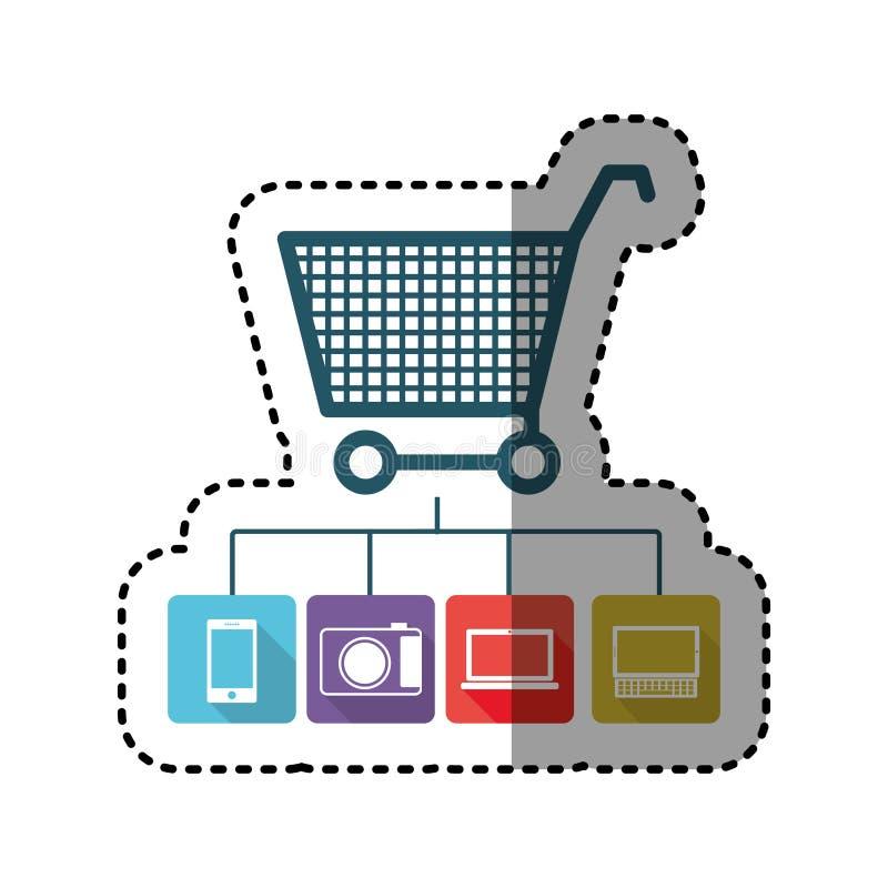 da compra colorida do carrinho de compras da etiqueta estoque em linha do ícone ilustração do vetor