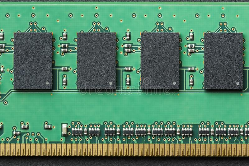 Da configuração do gráfico close-up liso da vida ainda do módulo da microplaqueta da memória do computador de DIMM RAM Imagem hor imagem de stock