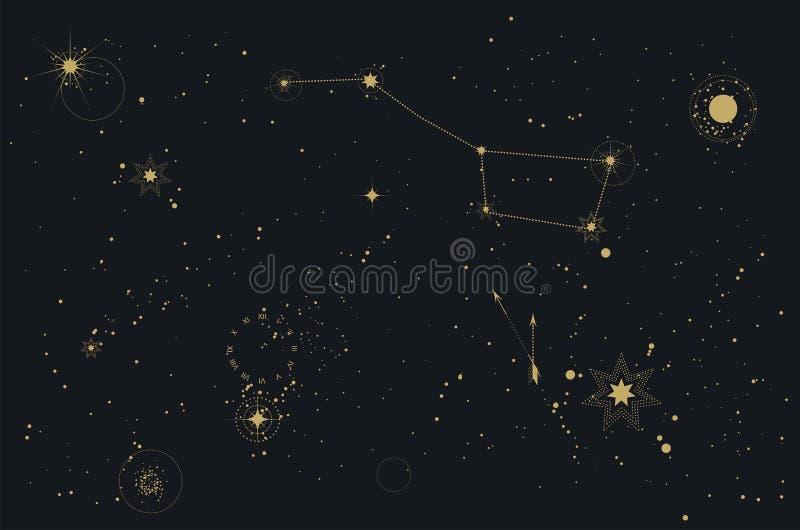 Da constelação estrelado do cosmos do céu da astronomia urso polar ilustração stock