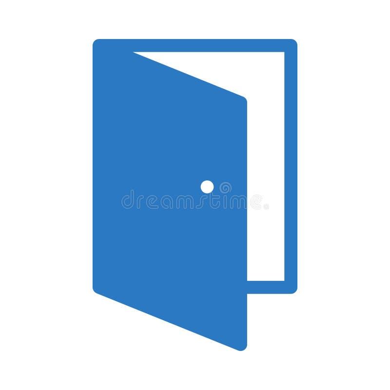 Da cor aberta do glyph da porta ícone liso do vetor ilustração stock