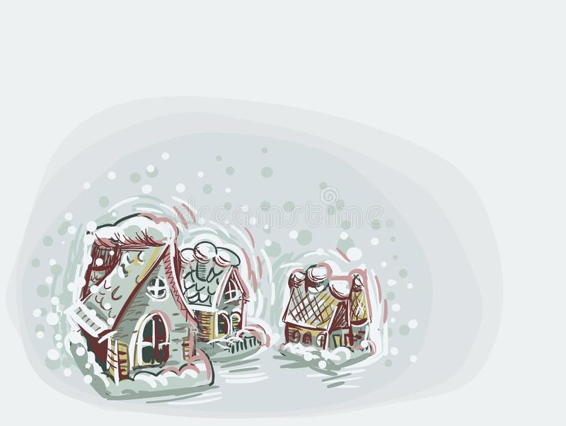 Da cor macia azul do fundo do cartão de Natal do vetor da casa da casa estilo pastel da pintura ilustração royalty free