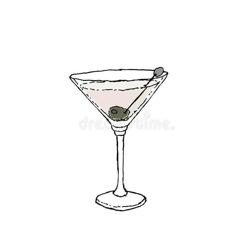 Da cor seca do cocktail de Martini ilustração de tiragem do vetor de Digitas Vidro no fundo isolado branco ilustração stock