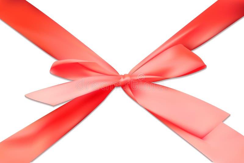 Da curva 3D da fita o escarlate vermelho realístico do presente da fita isolou o vetor ilustração stock