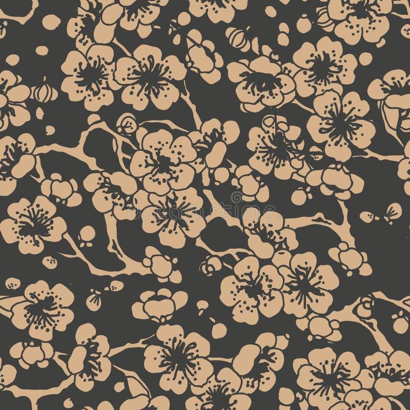 Da curva espiral oriental retro sem emenda do fundo do teste padrão do damasco do vetor flor transversal da ameixa da flor do qua ilustração royalty free