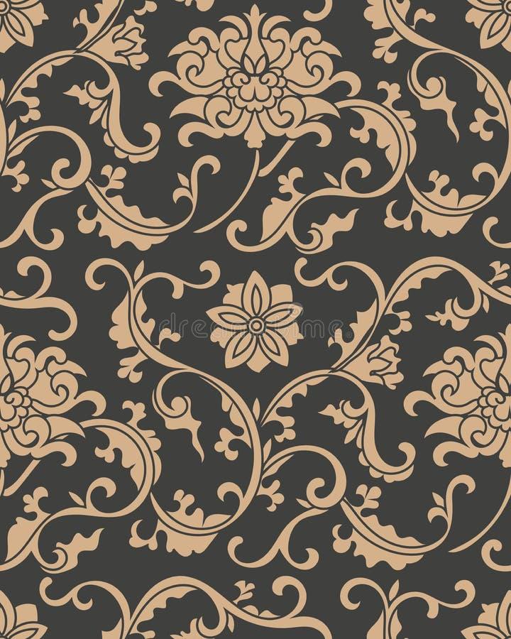 Da curva retro sem emenda da espiral do jardim botânico do fundo do teste padrão do damasco do vetor flor transversal da folha da ilustração do vetor