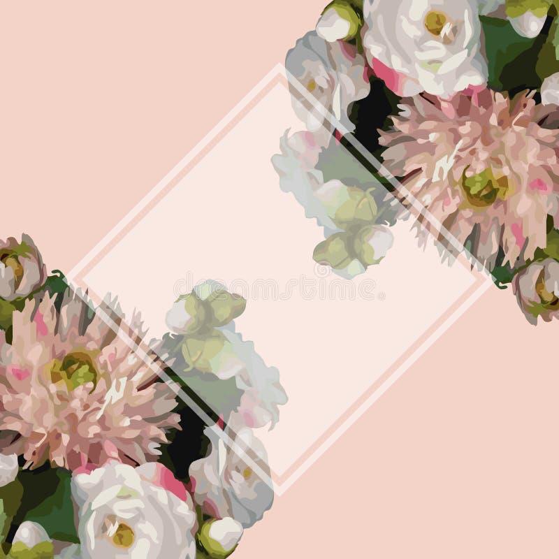 Da dália romântica realística da peônia da composição do ramalhete das flores da aquarela 3D vetor cor-de-rosa do fundo da amostr ilustração royalty free