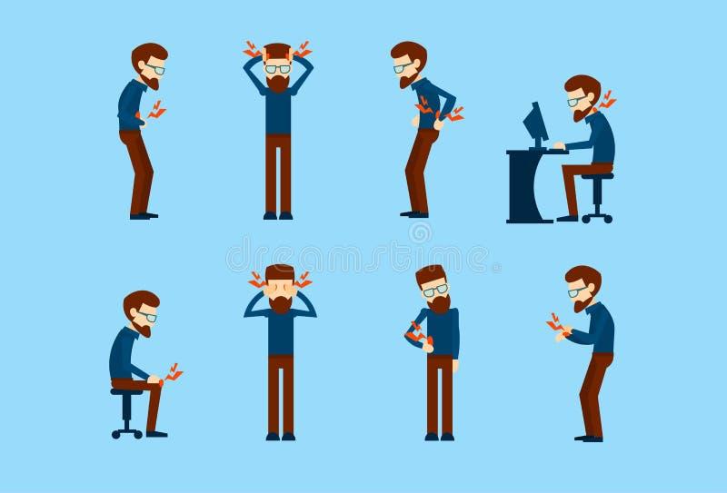 Da dor doente do homem de negócio da síndrome do trabalhador de escritório coleção ajustada ilustração do vetor