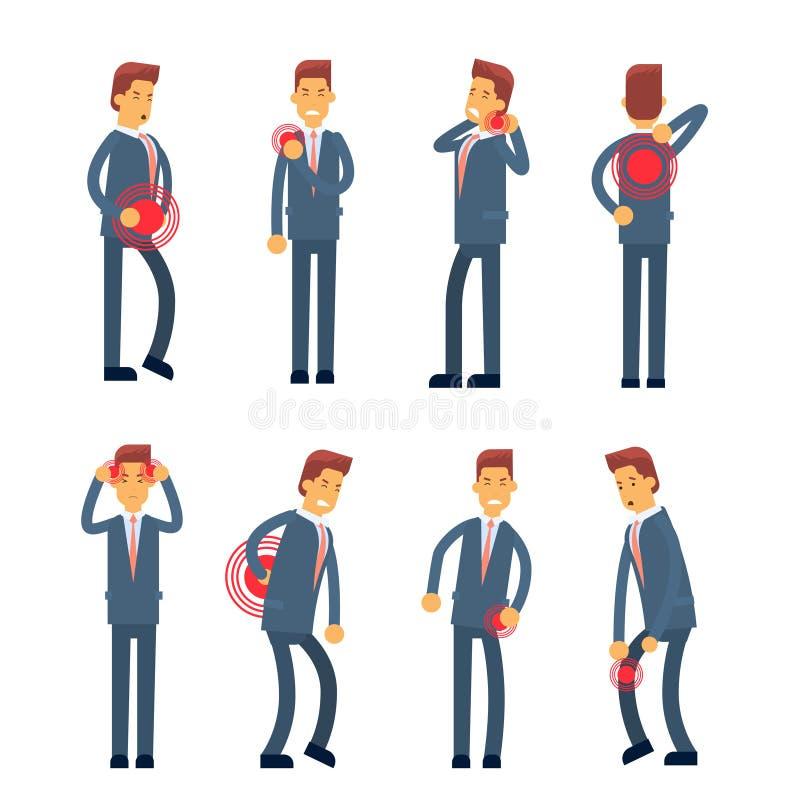 Da dor doente do homem de negócio da síndrome do trabalhador de escritório coleção ajustada ilustração royalty free