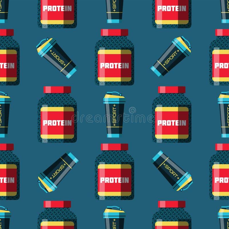 Da energia atlética saudável do suplemento à bebida do poder do proteine do halterofilismo da dieta da aptidão do alimento da nut ilustração do vetor