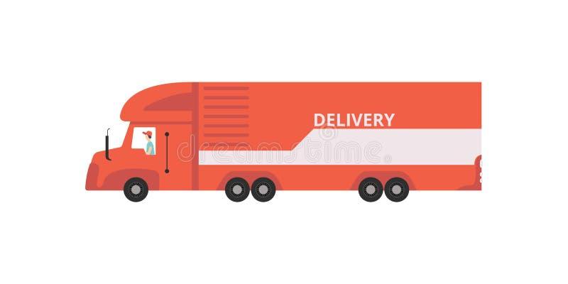 Da entrega caminhão de reboque vermelho semi, ilustração rápida do vetor do conceito do transporte em um fundo branco ilustração royalty free