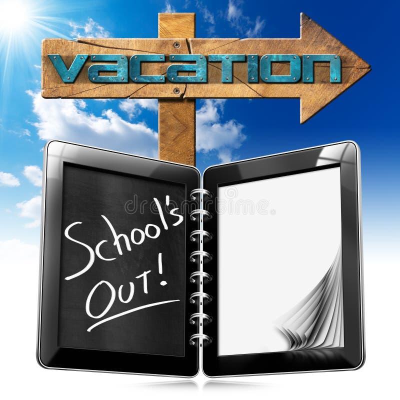 Da escola sinal das férias para fora - ilustração royalty free