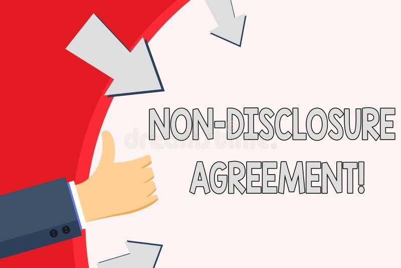 Da escrita do texto acordo da divulgação não O conceito que significa partidos concorda não divulgar a mão da informação confiden ilustração royalty free