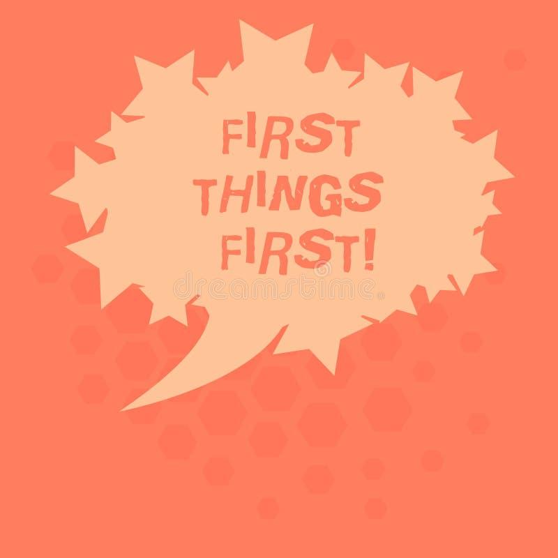 Da escrita do texto significado do conceito das coisas primeiramente matérias importantes do primeiro se tratado antes que outras ilustração royalty free