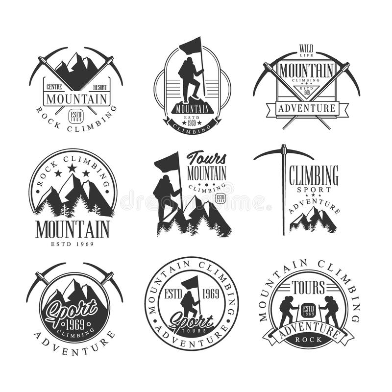Da excursão extrema da aventura do alpinismo moldes preto e branco do projeto do sinal com as silhuetas do texto e das ferramenta ilustração do vetor