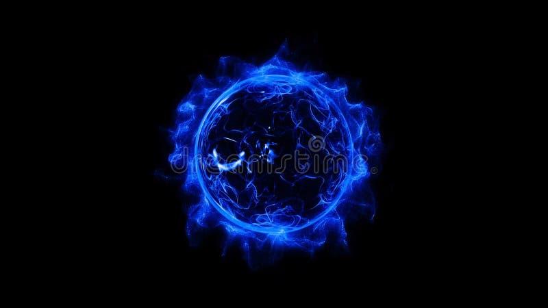 Da faísca clara do anel da circular azul explosão de poeira poderosa de incandescência shinning do efeito ilustração do vetor