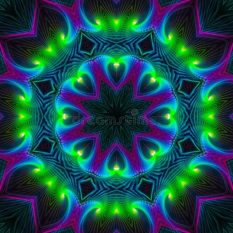 Da fantasia digital do sumário do caleidoscópio mandala místico da energia da tampa, mágica moderna oriental ilustração stock