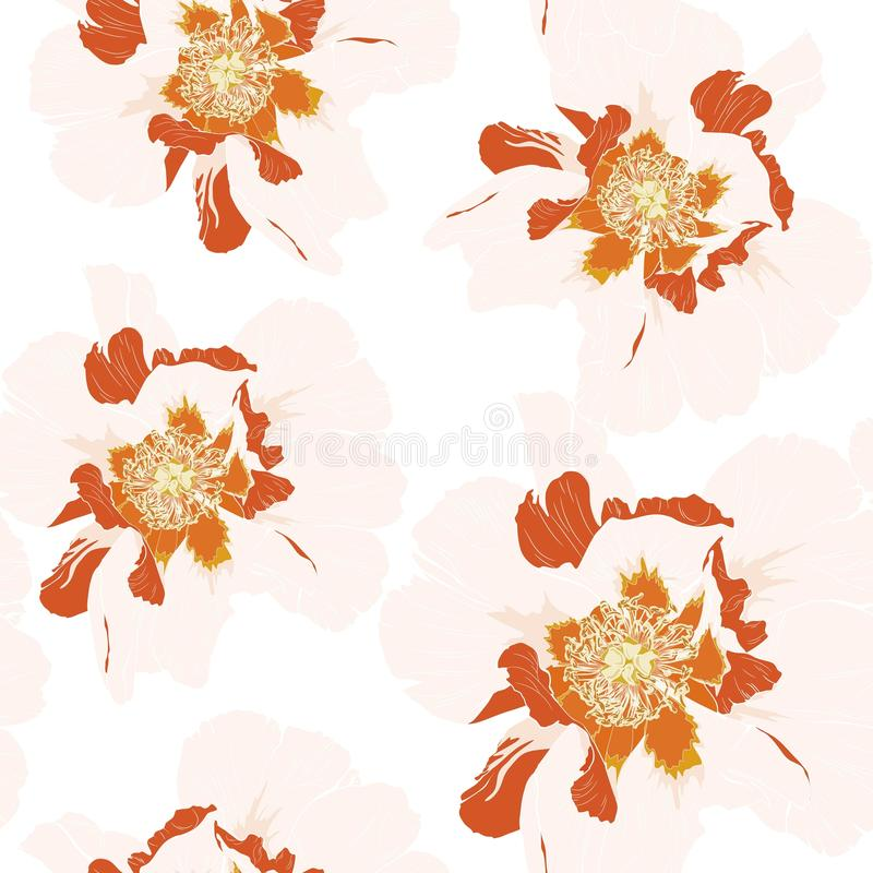 Da flor alaranjada abstrata da peônia do Wildflower teste padrão sem emenda isolado no fundo branco ilustração do vetor