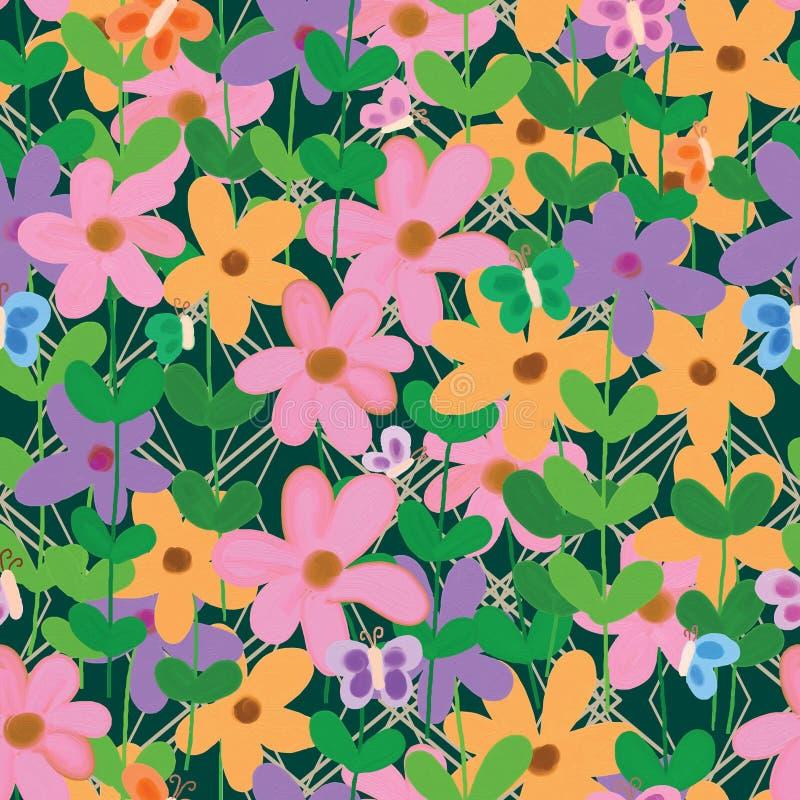 Da flor teste padrão sem emenda da cerca buttefly ilustração royalty free