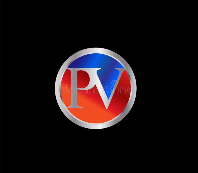 Da forma inicial do círculo do picovolt projeto mais atrasado vermelho de prata do logotipo da cor azul ilustração do vetor