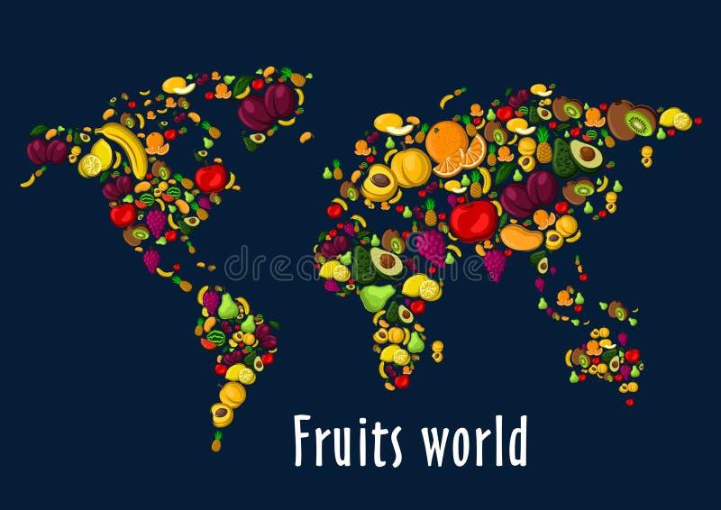 Da fruto el fondo del cartel del mapa del mundo ilustración del vector