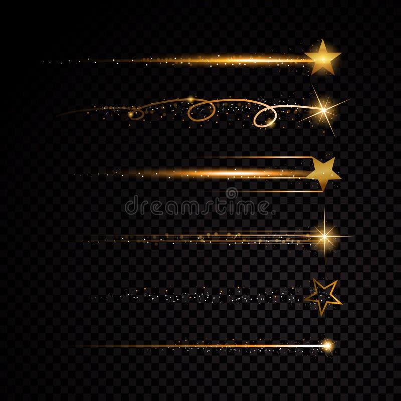 Da fuga espiral da poeira de estrela do ouro partículas efervescentes de brilho no fundo transparente ilustração do vetor