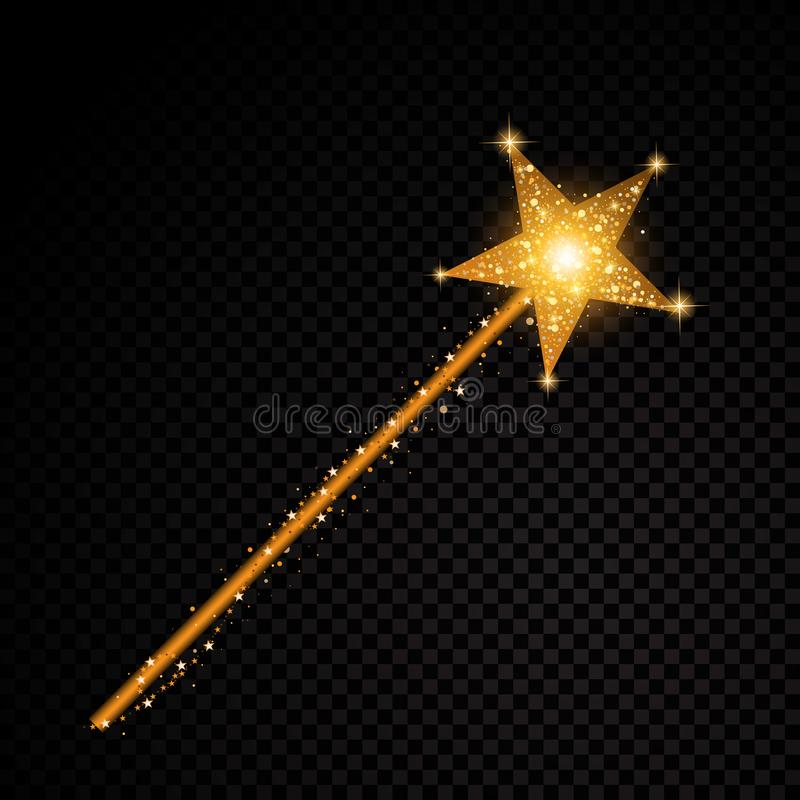 Da fuga mágica da poeira de estrela da vara do ouro partículas efervescentes de brilho no fundo transparente Forma do encanto do  ilustração royalty free
