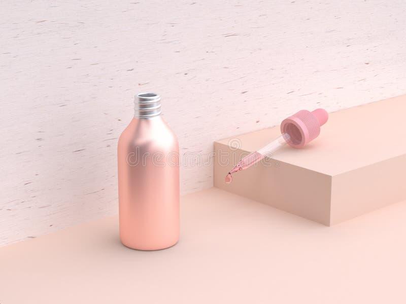 da garrafa líquida cor-de-rosa metálica geométrica cor-de-rosa da cena da rendição 3d gota de abertura do tubo de vidro ilustração royalty free