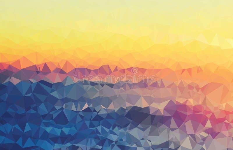 Da geometria moderna do triângulo da textura do fundo vale colorido enrugado do por do sol ilustração stock