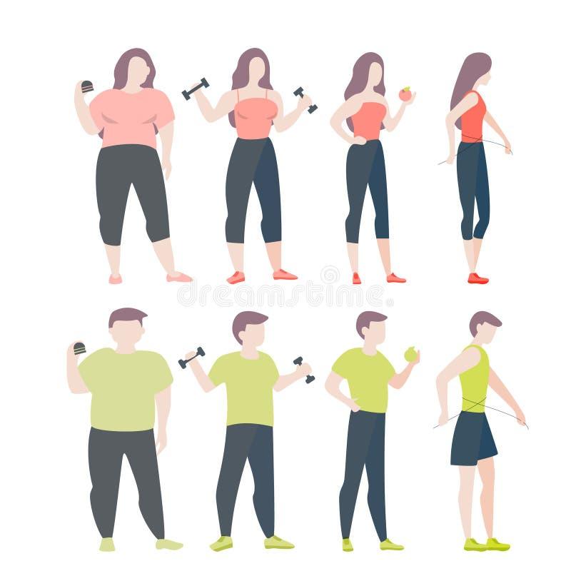 Da gordura para caber o conceito Mulher e homem com obesidade ilustração do vetor