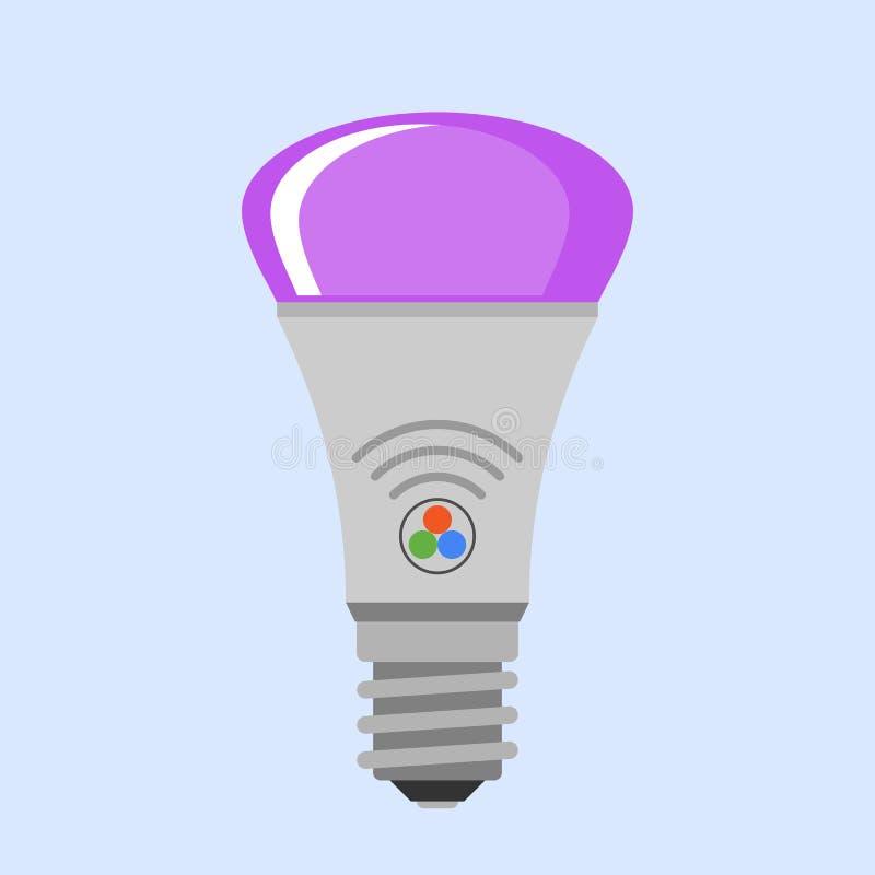 Da ideia elétrica lisa da ilustração do vetor do projeto da ampola da lâmpada dos desenhos animados conceito brilhante da solução ilustração royalty free