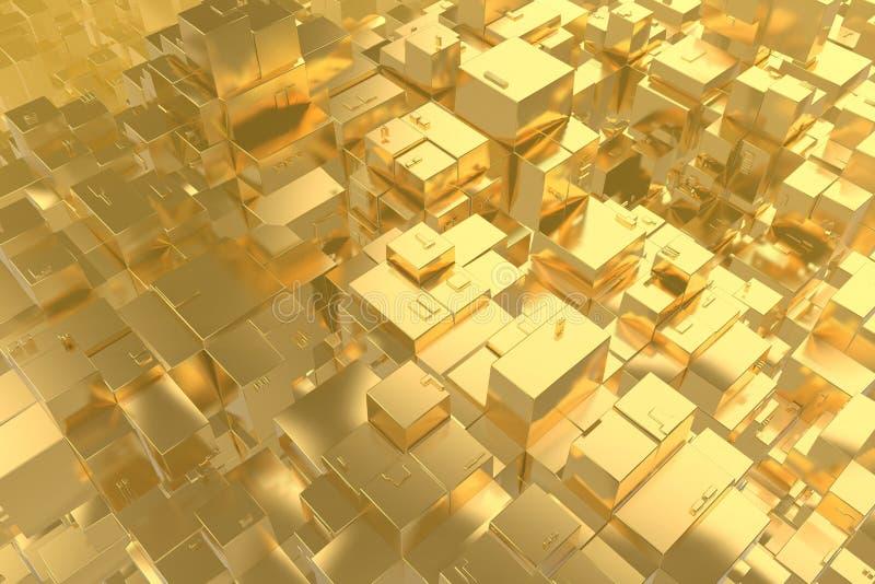 Da ideia rica do conceito da riqueza a cidade dourada no por do sol irradia o fundo abstrato do espaço rendição da ilustração 3D ilustração stock