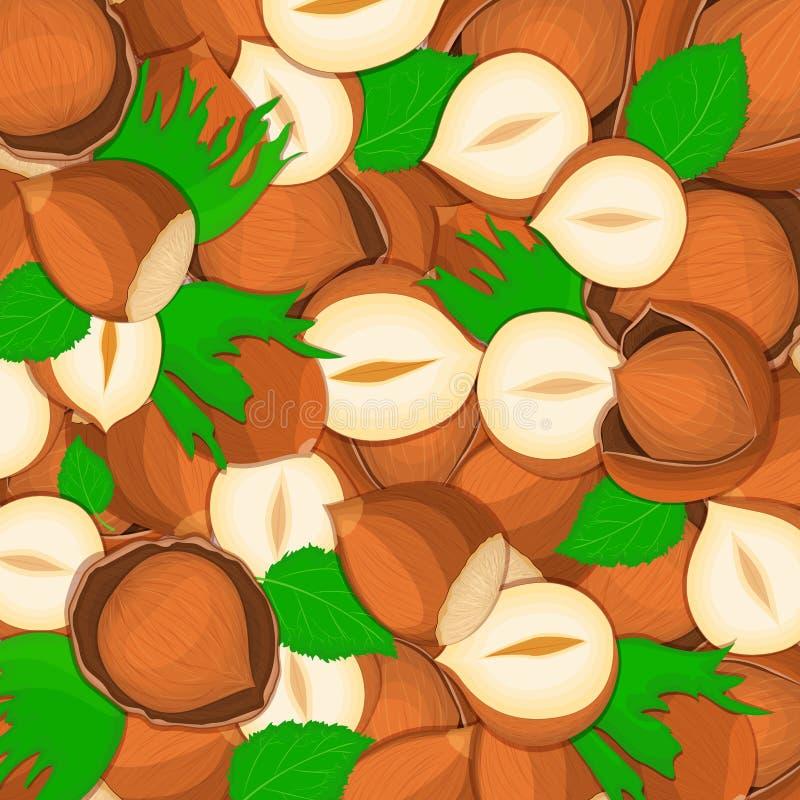 Da ilustração deliciosa fechada do vetor do fundo da porca da avelã o fruto Nuts da noz do teste padrão no shell inteiro ilustração do vetor