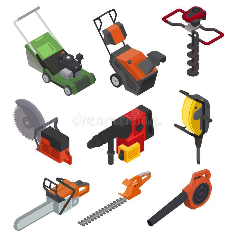 Da ilustração elétrica da poder-plaina do cortador de grama da circular-serra do equipamento de construção do vetor das ferrament ilustração do vetor