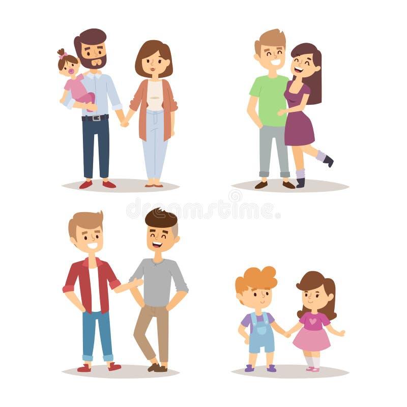 Da ilustração feliz do vetor do estilo de vida dos caráteres do relacionamento dos desenhos animados dos pares dos povos amigos r ilustração do vetor
