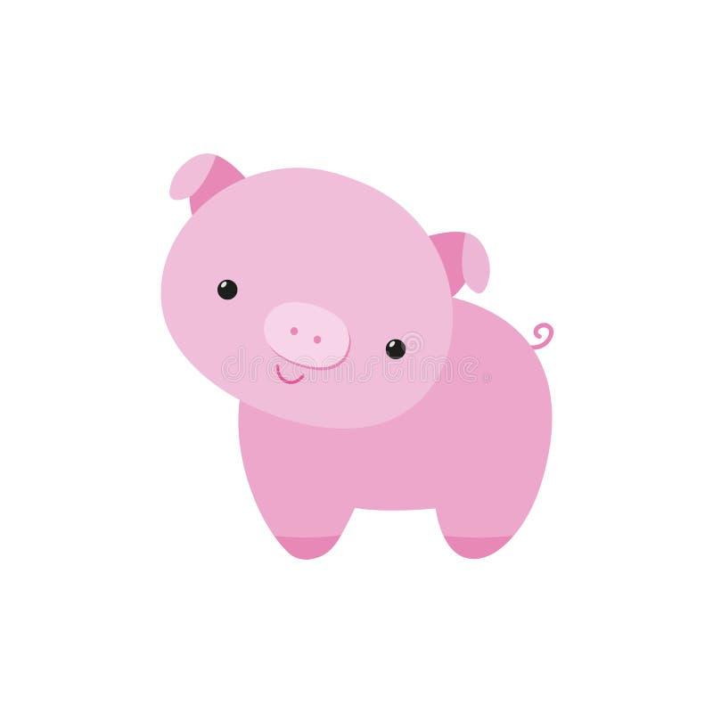 Da ilustração lisa leitão pequena bonito do vetor dos desenhos animados do leitão do porco caráter animal engraçado, símbolo 2019 ilustração royalty free