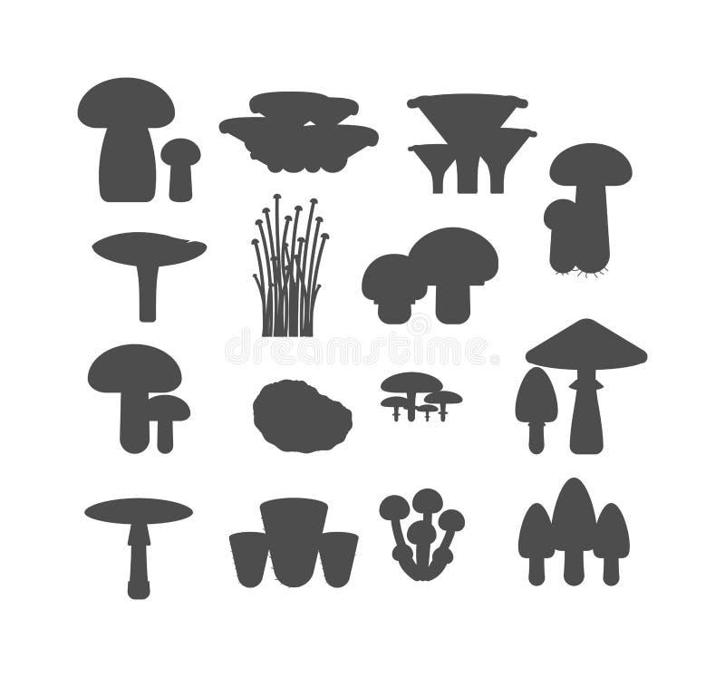 Da ilustração preta do vetor da silhueta dos cogumelos tipos diferentes ajustados isolados no fundo branco ilustração stock