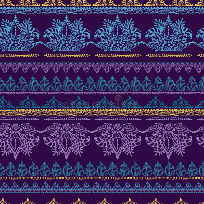 Da ilustração sem emenda do vetor do tracery do projeto do teste padrão da flor de Mehendy bacground floral ilustração royalty free
