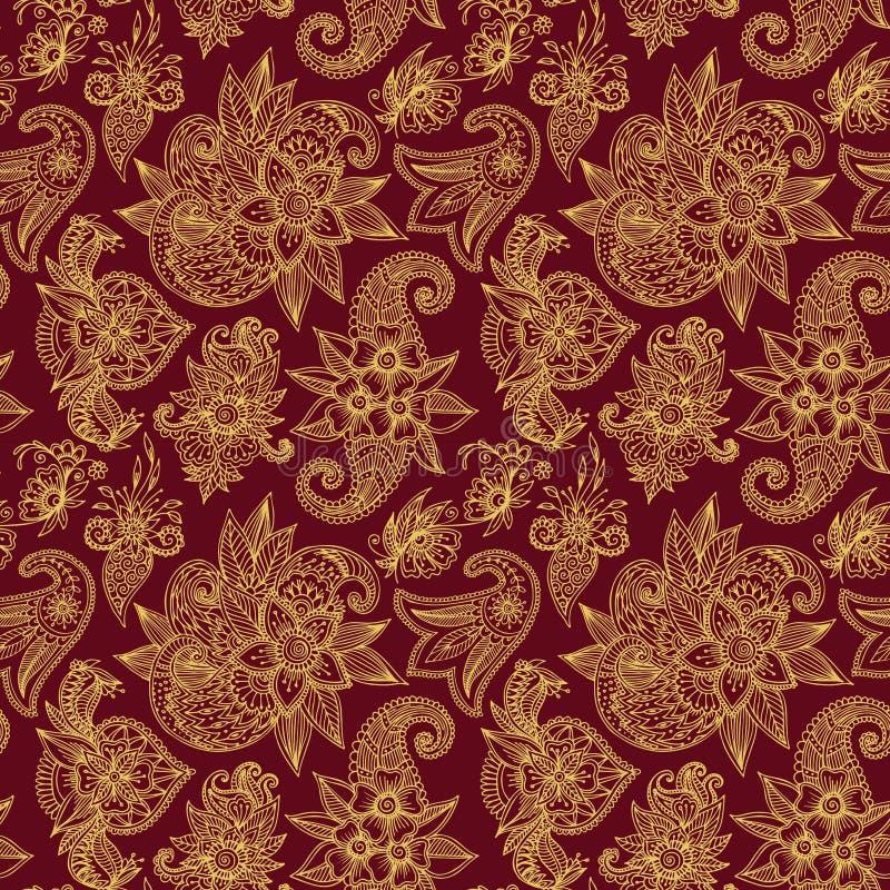 Da ilustração sem emenda dourada do vetor do tracery do projeto do teste padrão da flor de Mehendy bacground floral ilustração do vetor